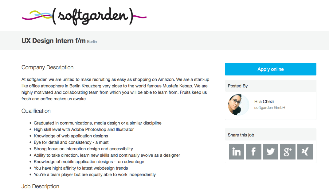 softgarden job ad