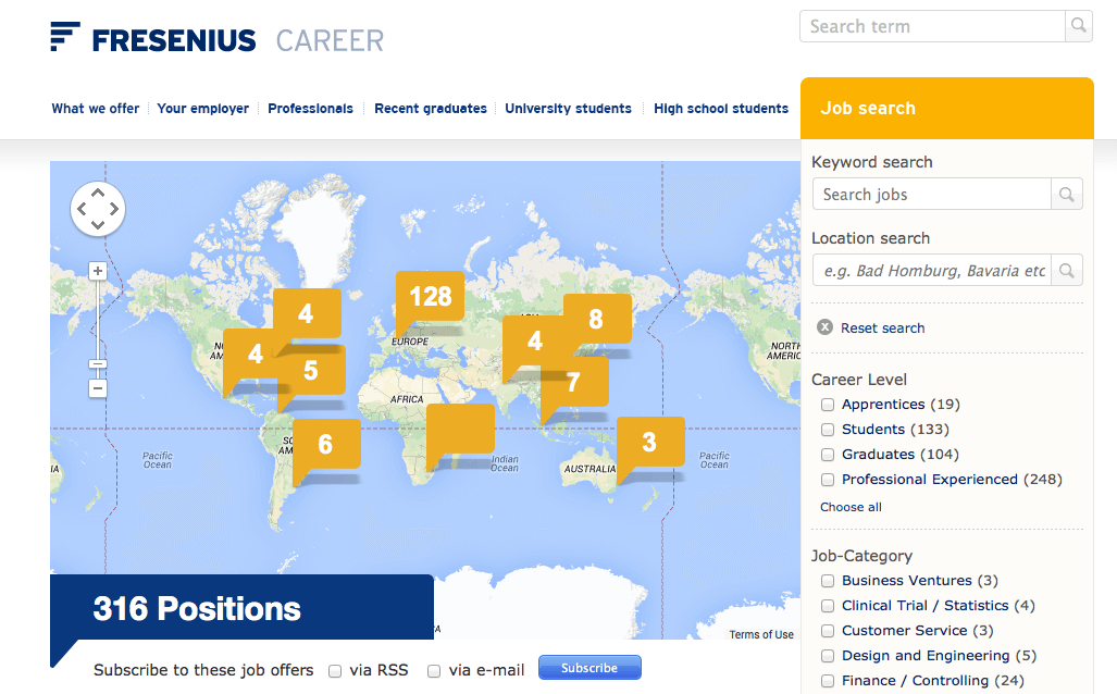 Online application Job Map