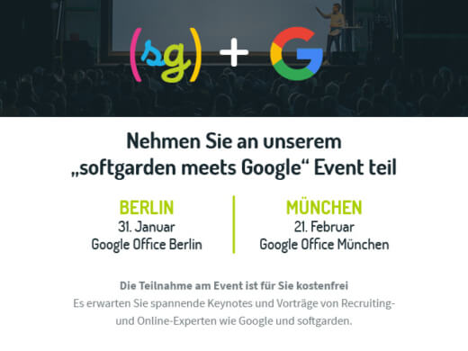 "Events: ""softgarden meets Google"" in Berlin und München"